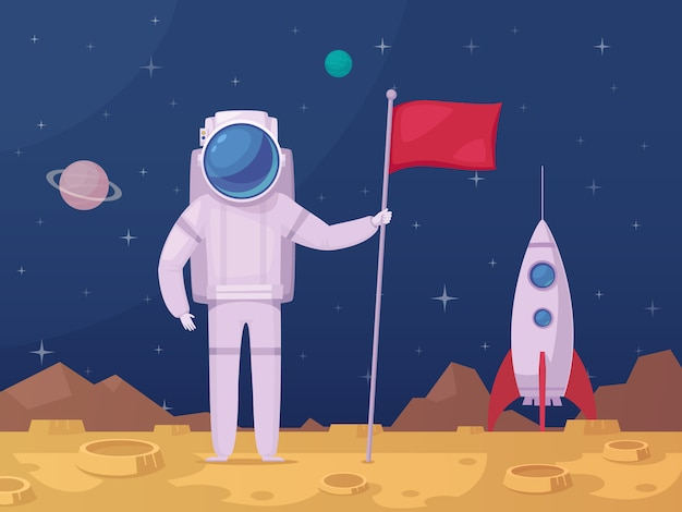 Astronaute Lunar Surface Cartoon Icon Vecteur gratuit