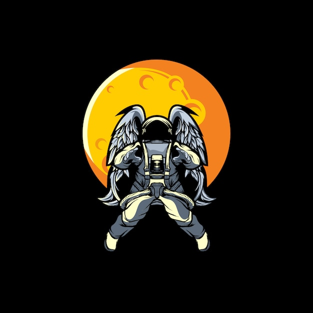 Astronaute Sur La Lune Vecteur Premium