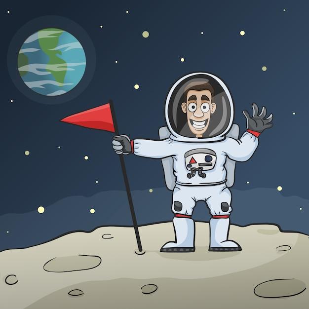 Astronaute sur lune Vecteur Premium