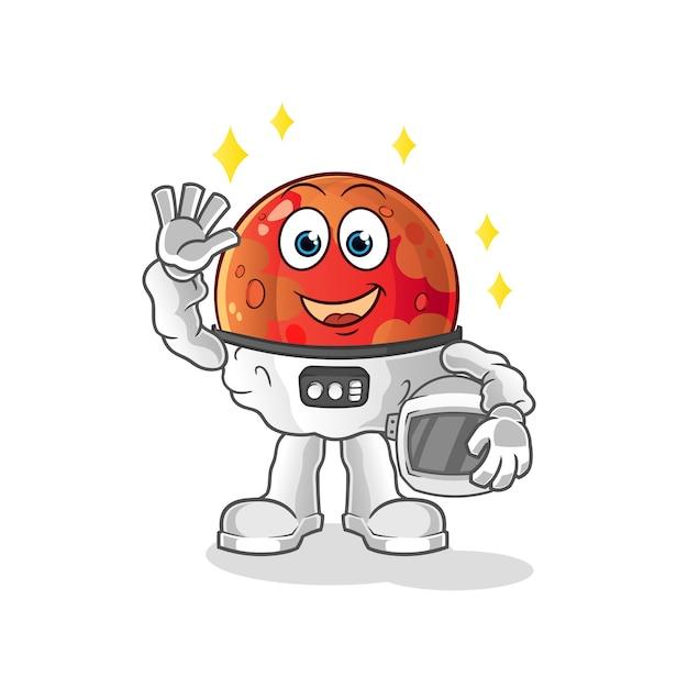 Astronaute De Mars Agitant Illustration Vecteur Premium