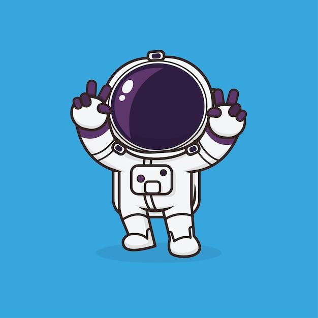 Astronaute Mignon Kawaii Vecteur Premium