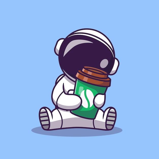 Astronaute Mignon Tenant Illustration De Dessin Animé De Tasse De Café. Concept D'icône De Nourriture Et De Boisson De Science. Style De Bande Dessinée Plat Vecteur gratuit