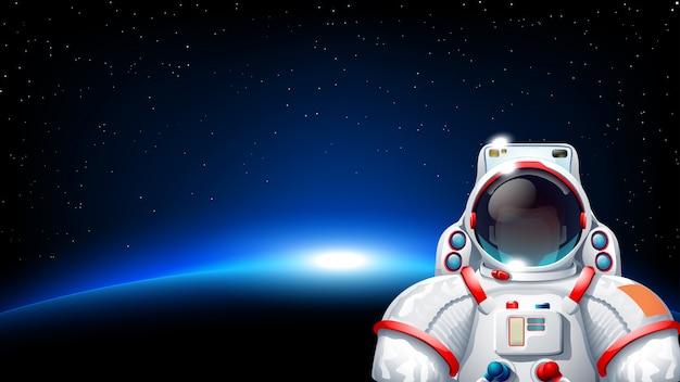 Astronaute Planète Soleil Vecteur Premium