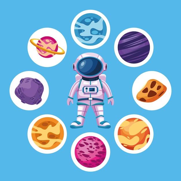 Astronaute Avec Des Planètes Spatiales Autour De L'illustration Des éléments Vecteur Premium