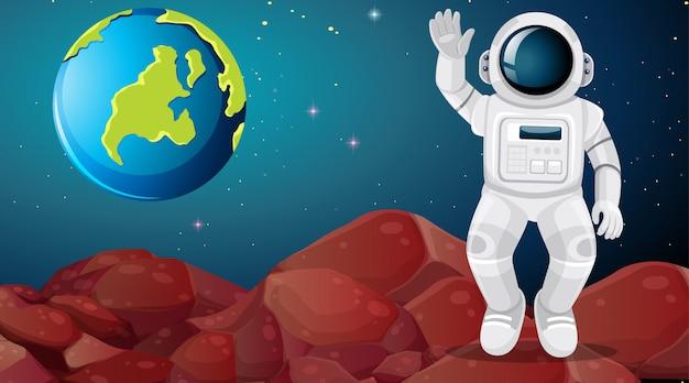 Astronaute sur une scène extraterrestre Vecteur gratuit