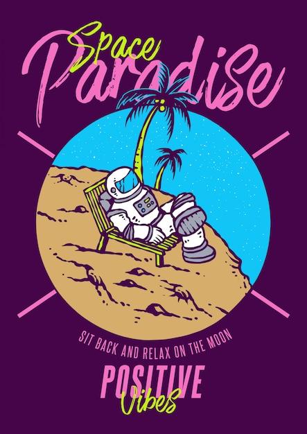 L'astronaute se détend sur la lune avec vue sur la plage, paradis et illustration de style années 80 Vecteur Premium
