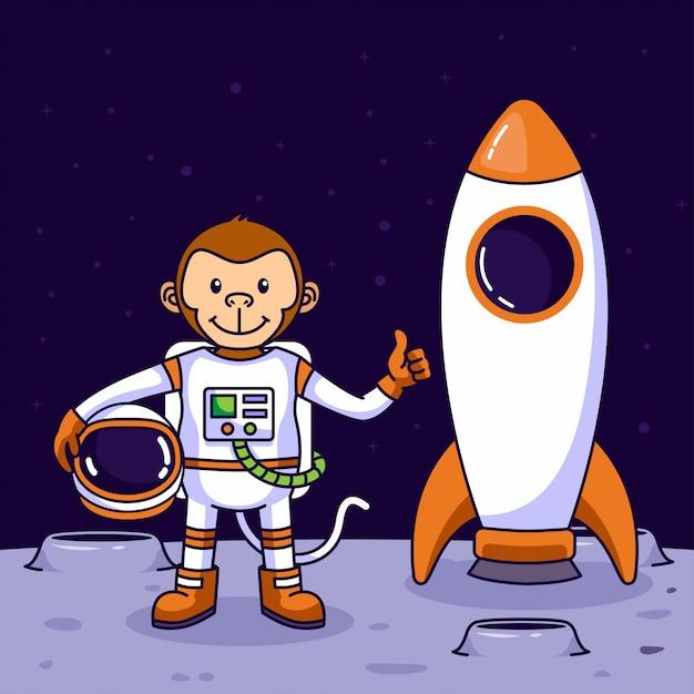 Astronaute Singe Mignon Atterrissant Sur La Lune Vecteur Premium