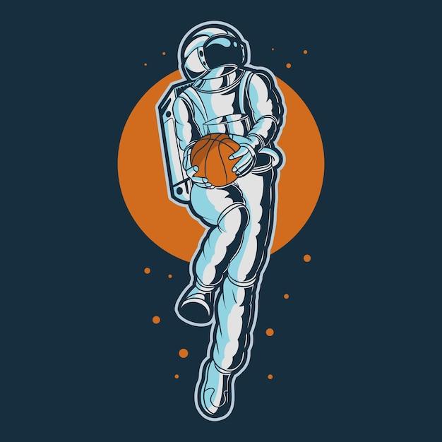 Astronaute Tenant Illustration De Ballon De Basket Vecteur Premium