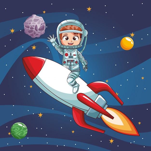 Astronaute, voler, vaisseau spatial Vecteur Premium