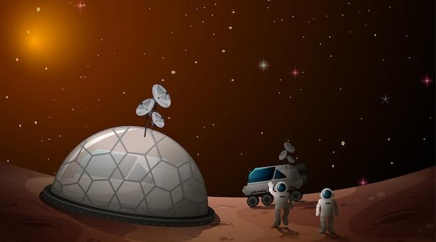 Les astronautes dans le camp spatial Vecteur gratuit