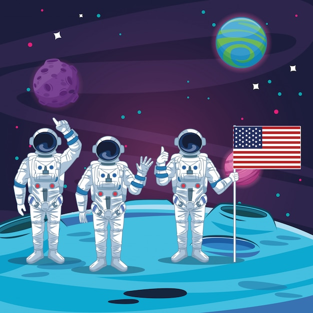 Astronautes dans le paysage lunaire Vecteur Premium