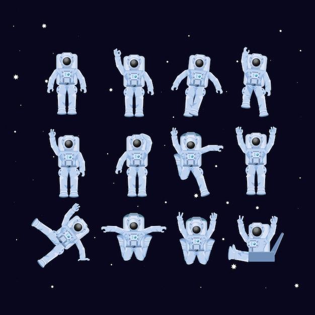 Les astronautes dans les personnages de l'espace Vecteur Premium