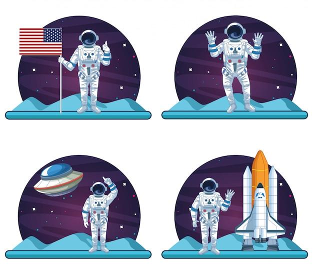 Astronautes et galaxies Vecteur Premium