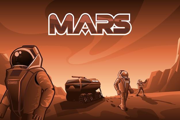 Les astronautes marchent sur mars. Vecteur Premium