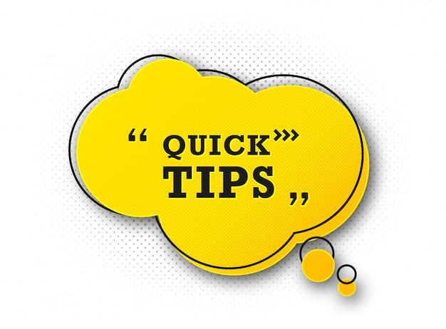 Astuce Rapide Utile. Astuce Suggérant Des Conseils Et De L'aide Vecteur Premium