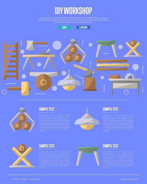 Atelier de bricolage en bois dans un style plat Vecteur Premium