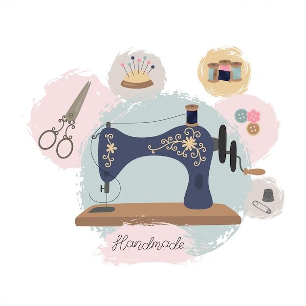 Atelier de couture ou atelier de couture. machine à coudre vintage dessinée à la main. Vecteur Premium