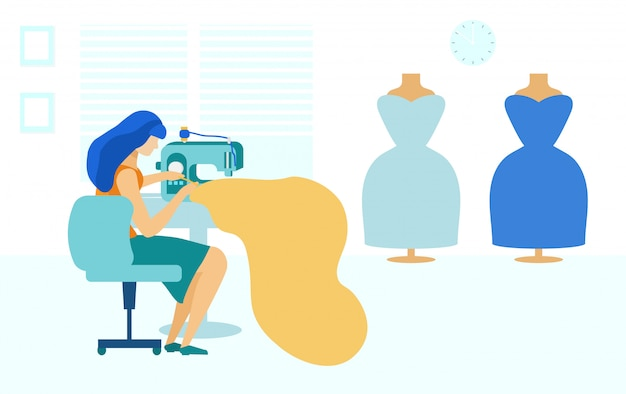 Atelier de couture et jeune femme avec une machine à coudre, Vecteur Premium