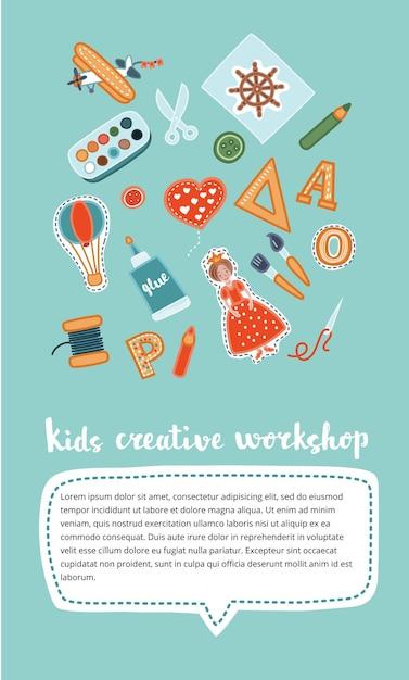 Atelier Créatif Vertical Pour Enfants Fait à La Main. Vecteur Premium