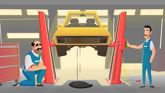 Atelier De Réparation De Mécanique Automobile Dans Un Véhicule. Vecteur Premium