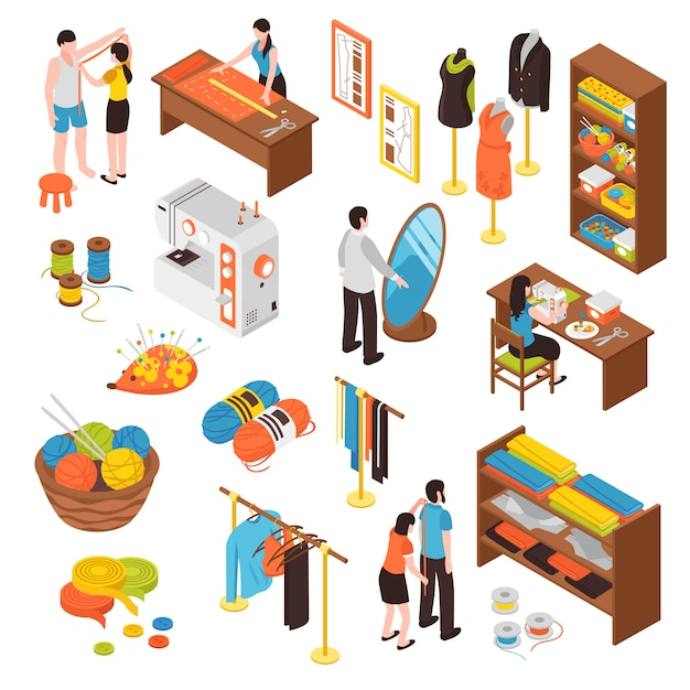 Atelier studio isometric icons set Vecteur gratuit