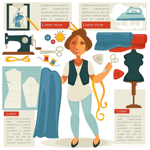 Atelier de tailleur ou de couturier. Vecteur Premium