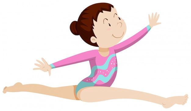 Athlète Féminine Faisant De La Gymnastique Vecteur gratuit