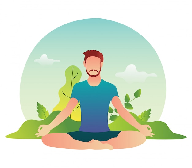 L'athlète Masculin De Yoga Se Détend Dans La Pratique De L'après-midi. Vecteur Premium