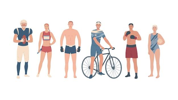 Athlètes De Différents Sports. Joueurs D'équipe, Arts Martiaux Et Sport Unique. Vecteur Premium