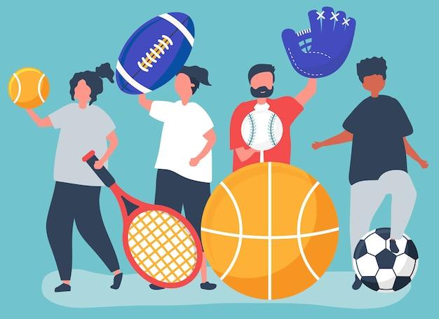 Athlètes portant des icônes de sport différentes Vecteur gratuit