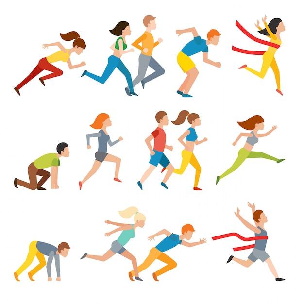 Athlétique attrayant courir les gens homme jogging en été Vecteur Premium