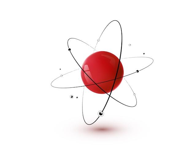 Atome Rouge Avec Noyau, Orbites Et électrons Isolés. Concept De Technologie De Chimie Nucléaire 3d. Vecteur gratuit