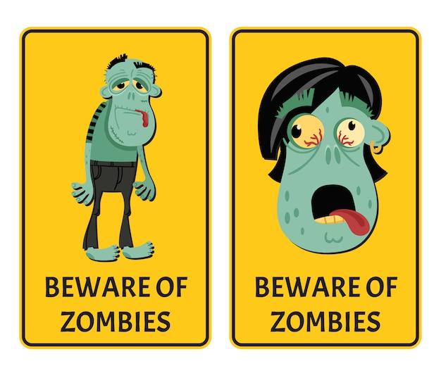 Attention aux étiquettes des zombies Vecteur Premium