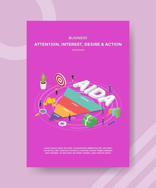 L'attention Des Entreprises D'intérêt Désir D'action Les Gens Debout Autour De L'entonnoir De Texte Aida Vecteur gratuit