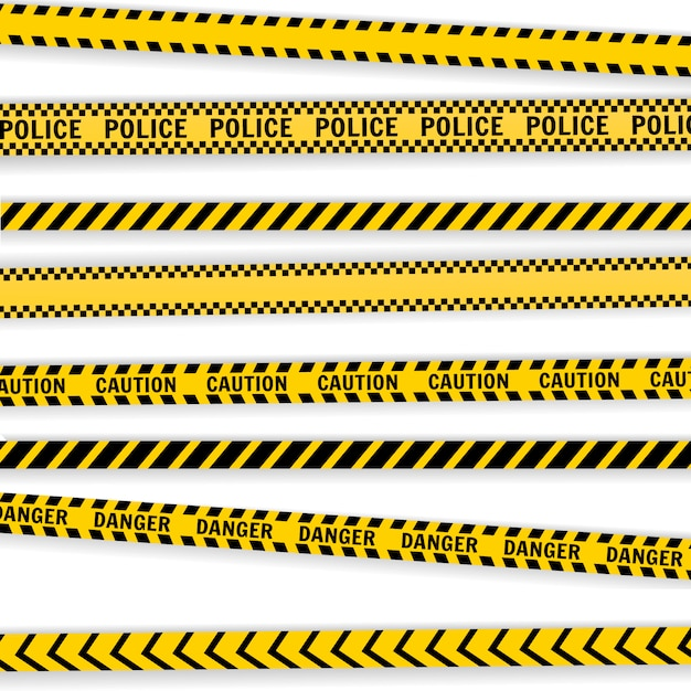 Attention, Lignes De Police Définies Isolé Sur Blanc Vecteur Premium