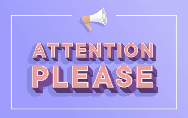 Attention S'il Vous Plaît Mot Avec Mégaphone Illustration Concept, Point D'exclamation Signe De Prudence`` Flyer Vecteur Premium