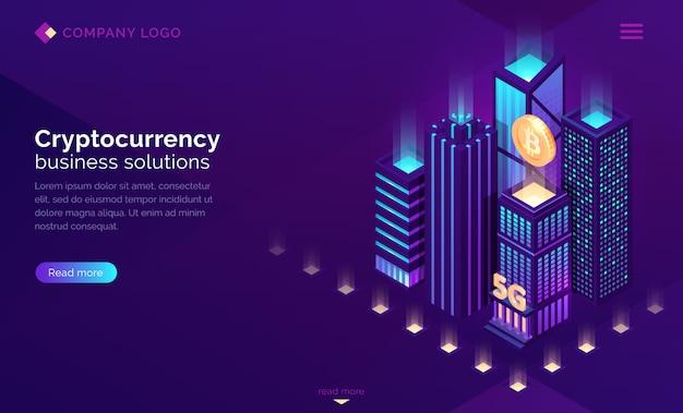 Atterrissage Isométrique De La Solution Commerciale De Crypto-monnaie Vecteur gratuit