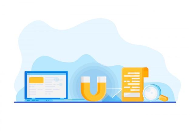 Attirer des clients en ligne. Vecteur Premium