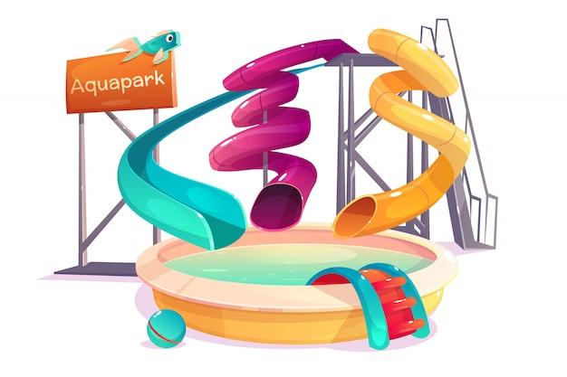 Attractions aquatiques du parc d'attractions moderne Vecteur gratuit