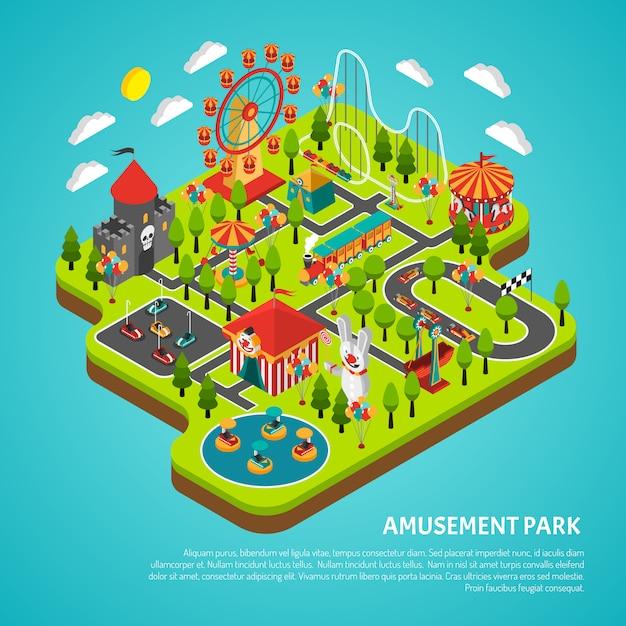 Attractions parc d'attractions fairground isometric banner Vecteur gratuit