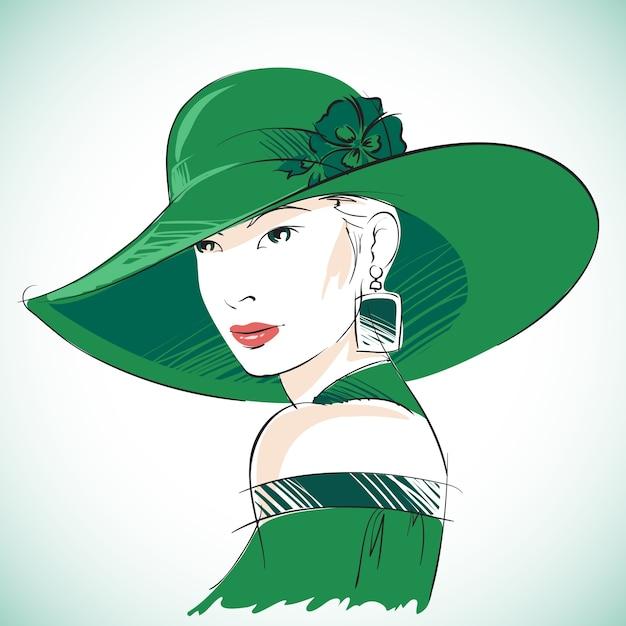 Attractive Portrait De Femme Sensuelle Portant Un Chapeau Vert Et Une Boucle D'oreille Illustration Vectorielle Vecteur gratuit