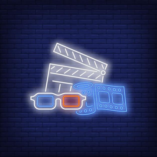 Attributs de cinéma enseigne au néon Vecteur gratuit