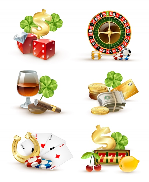 Attributs De Symboles De Casino 6 Icons Set Vecteur gratuit