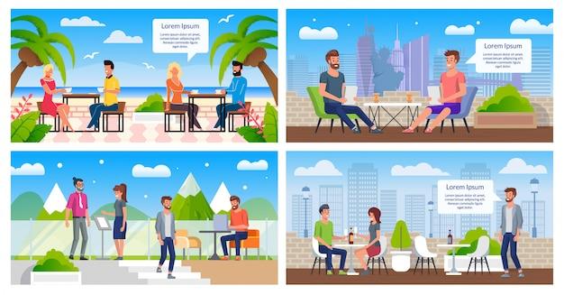 Au repos dans le café en plein air plat vector posters set Vecteur Premium