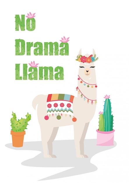 Aucun graphique de lama drama avec guirlande de fleurs et cactus Vecteur Premium