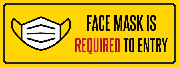 Aucun Masque Facial Aucun Signe D'entrée. Panneau D'avertissement D'informations Sur Les Mesures De Quarantaine Dans Les Lieux Publics. Restriction Et Prudence Covid-19. Vecteur Premium