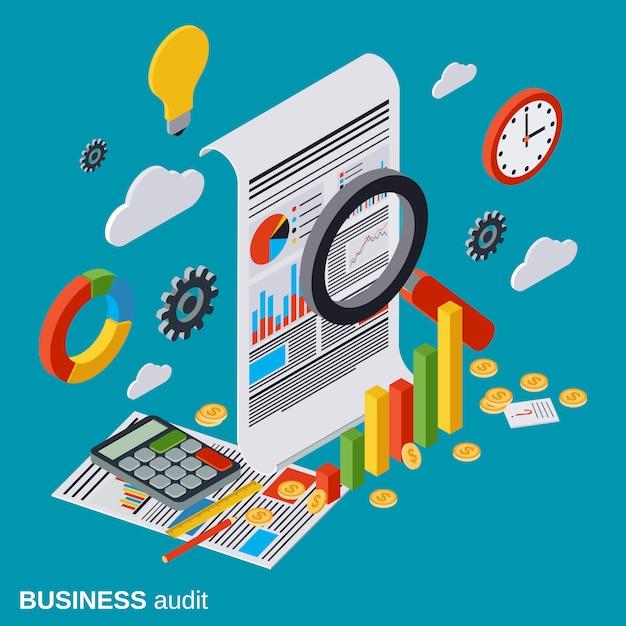 Audit d'entreprise, analyse financière, statistiques Vecteur Premium