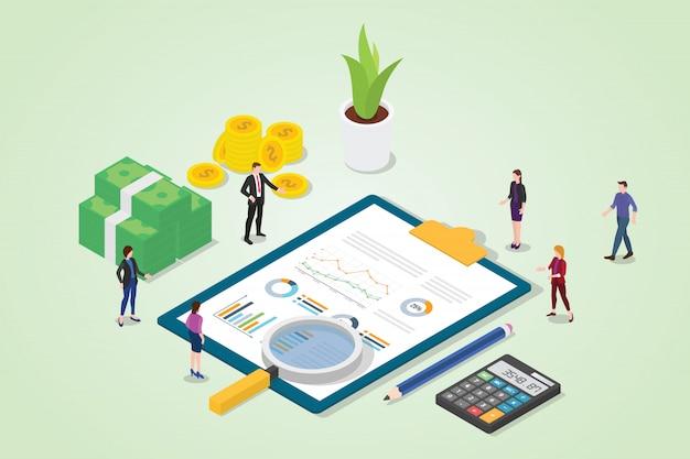 Audit financier avec rapport financier graphique d'entreprise Vecteur Premium