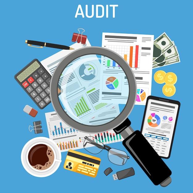 Audit, processus fiscal, comptabilité Vecteur Premium