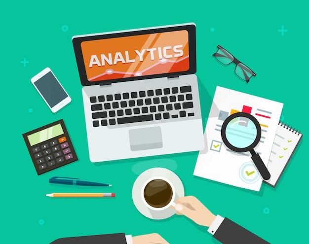Audit de rapport financier concept ou recherche de données comptables sur le lieu de travail ordinateur table vue de dessus vector illustration plat Vecteur Premium
